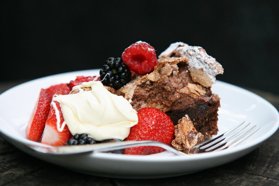 Chocolate Meringue Cake with berries.