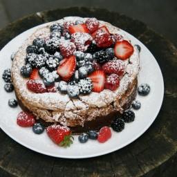 Chocolate Meringue Cake with Fresh Berries.