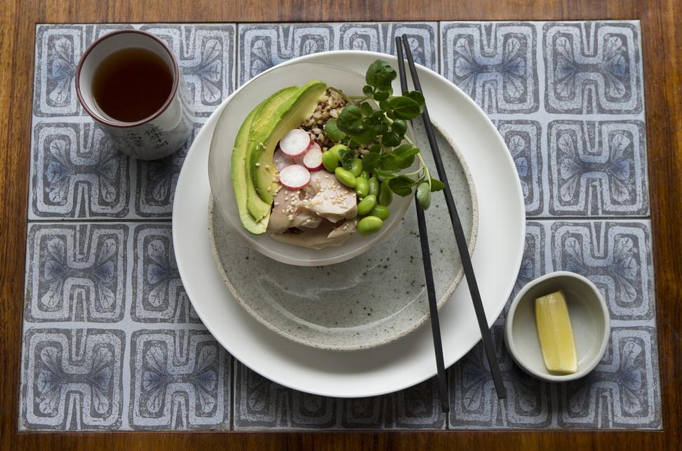 Thursday: Smoked Trout, Edamame, Avocado Rice Bowl. Gluten Free, 'Vegaquarian'.