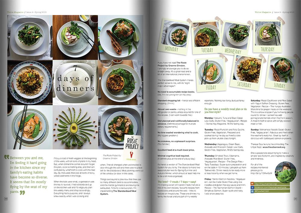 Thrive magazine 7 Days of Dinners