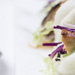 Vietnamese Style Bao with Sticky Grilled Salmon and Sweet Chilli Mayo